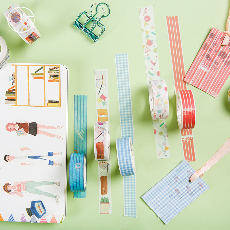 Mohamm Young Time Series Set Kawaii Planner Handbook Decorative Paper Washi Masking Tape School Supplies Stationery