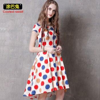 cbc815f8c2 CR verano mujeres vestido 2018 moda Dot impreso manga corta Vestidos vestido  de fiesta Casual Vestidos