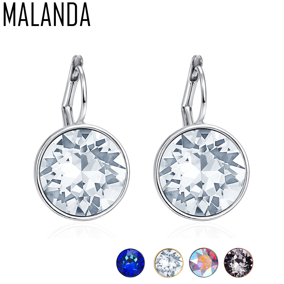 MALANDA Brand 2018 New White Bella Crystal Stud Earrings For Women Crystal From Swarovski Fashion Round Earrings wedding Jewelry