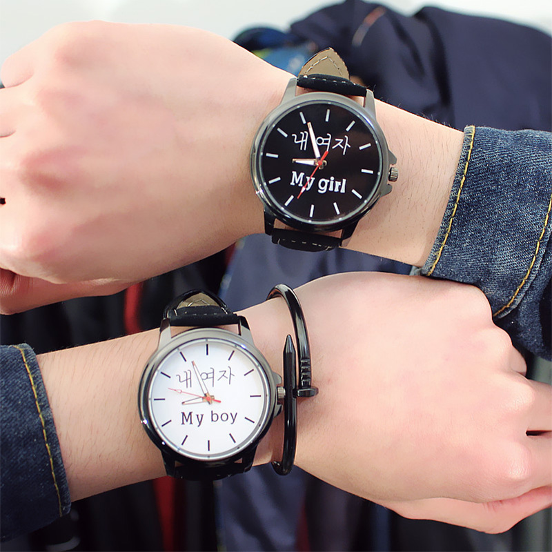 Couple Watch Queen King Crown Fuax Leather Digital Quartz Analog Wrist Watches Chronograph 2019 Women Men Relogio Femininoa Gift