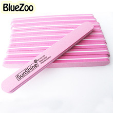 BlueZoo 10pcs/pack File Nail Tool Round Head Double Side Diamond Fancy Nail File Buffer Sanding Washable Nail Art Manicure Pink