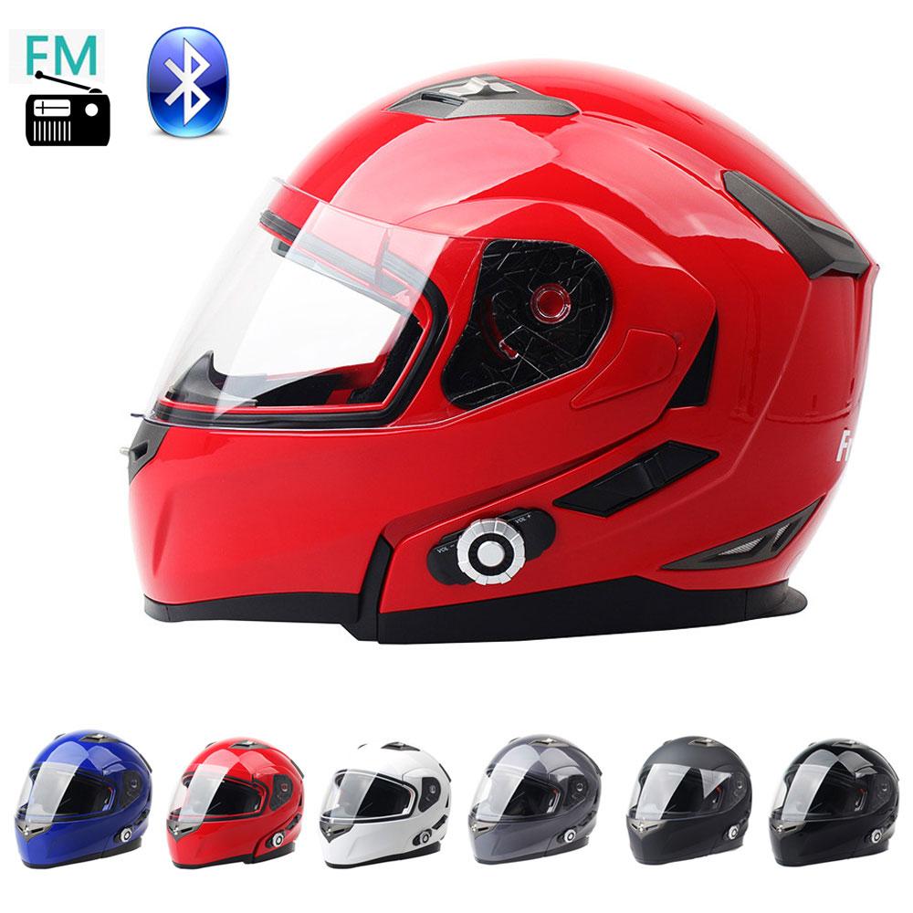 DOT apstiprināts moduļu motocikls Flip up ķiveres drošības dubultā objektīva pilna atvērta sejas ķivere, kas iebūvēta Bluetooth intercom un FM radio