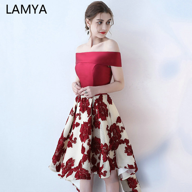 LAMYA Vintage Burgundy Satin High Low   Prom     Dresses   2019 Banquet Front Back Long Tail Evening   Dress   Boat Neck Party Formal Gown