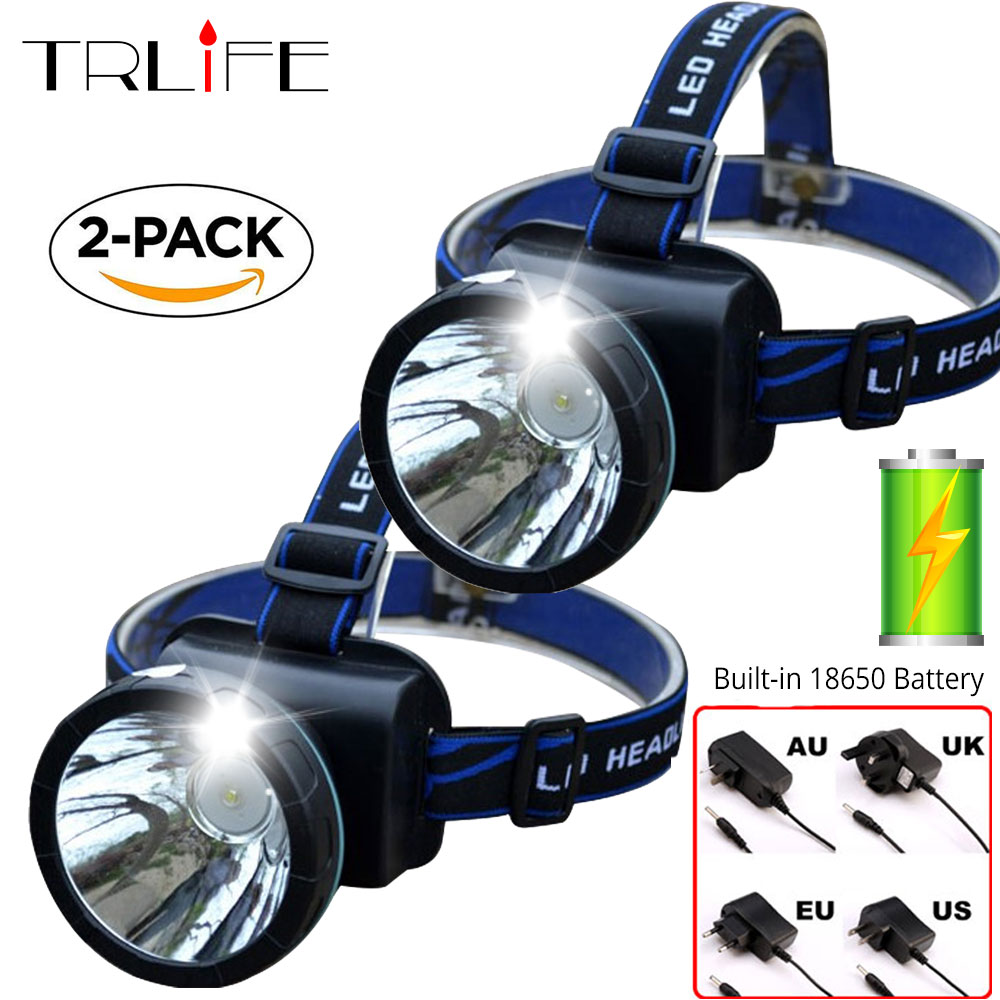 2 Packs LED Headlamp Built-in 18650 Rechargeable LED Headlights Head Lamp Waterproof Headlight Light For Fishing+Charger