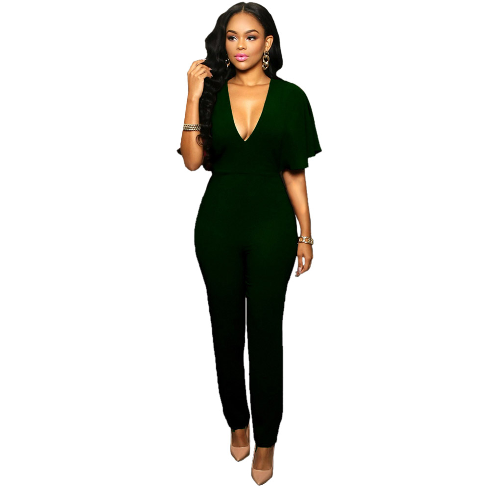 d813ec741e38 11.11 Sedrinuo 2016 Hot Sale New Fashion Womens Long Green Jumpsuit Sexy  Bust Deep V Neck. Popular Green Jumpsuit-Buy Cheap Green Jumpsuit lots from  China .