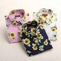Dioufond 2016 Хлопок Женщины Блузка С Длинным Рукавом Печатные Цветы Рубашки Повседневные Цветочные Blusas Femininas Повседневная Лето Дамы Топы