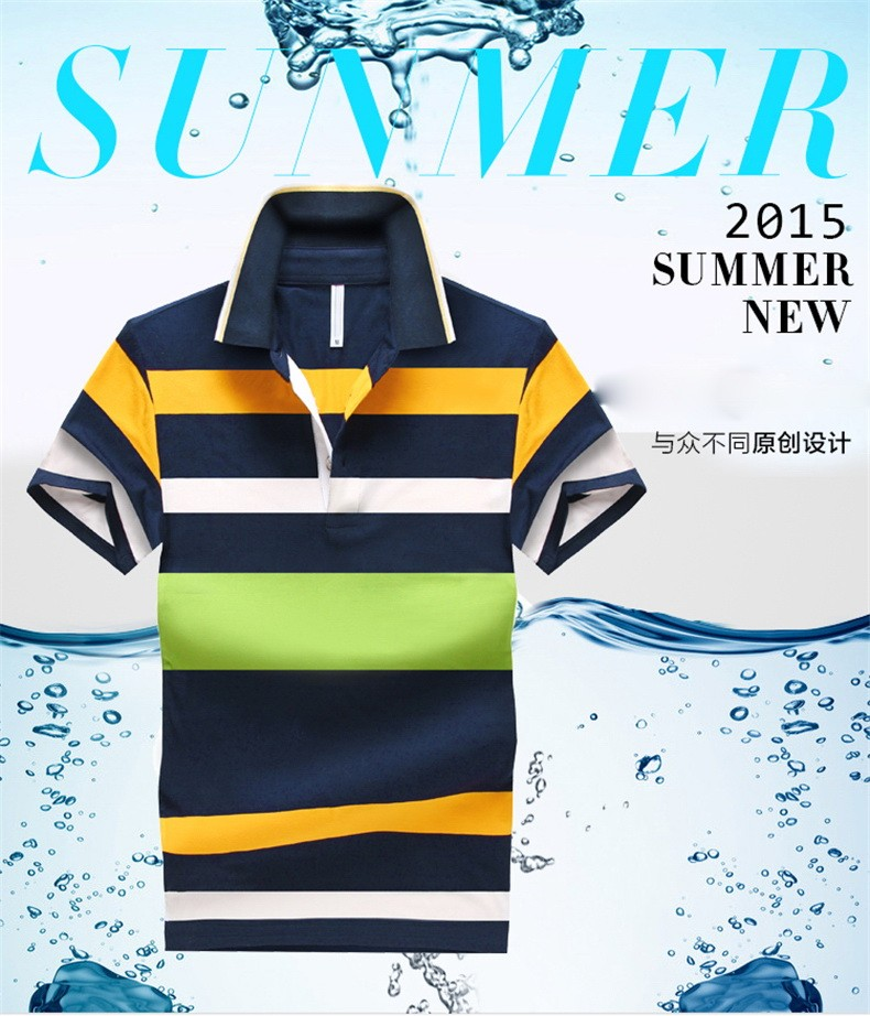 92% Cotton camisa Men Polo Shirt  2015 Casual Striped Slim short sleeves ASIAN SIZE M-4XL 6
