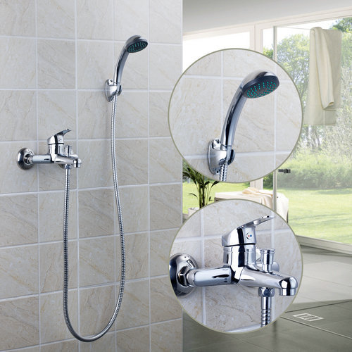 Charming 97098 Bathroom Chrome Wall Mount ABS Body+Rainfall Hand Spray+1500 Hose  Bathtub Basin
