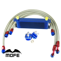 10AN Aluminum Engine 7 Row Oil Cooler Kit With Double Sandwich Adapter Oil Cooler Hose L