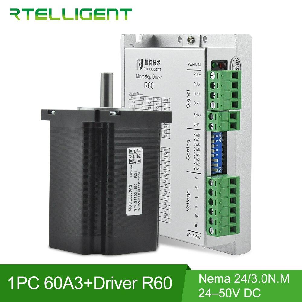 Offre spéciale Nema 23 24 3N. M 5A moteur pas à pas 60A3 avec 24-50VDC 5.6A Nema 23 contrôleur de moteur pas à pas R60 Kit de CNC