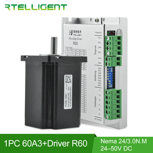 Rtelligent 60x60mm Nema 24 Step Stepper Motor 3N.M 5A with 24-50V DC 5.6A Nema 23 24 Stepper Motor Driver Controller CNC Kit(China)
