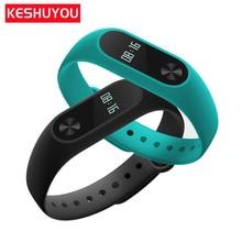 KESHUYOU mode gelang pintar wanita tidur tracker heart rate monitor hitam putih lcd smartband m2 IOS Android PK mi band 2