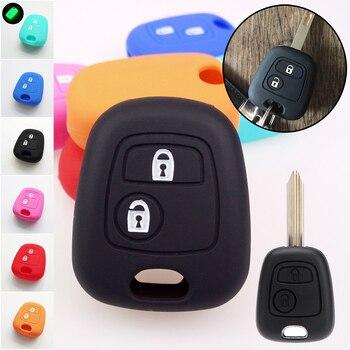 2 кнопки силиконовый чехол для ключей подходит для CITROEN C1 C2 C3 C4 XSARA PICASSO PEUGEOT 106 107 206 207 307 FORTOYOTA AYGO дистанционный чехол FOB