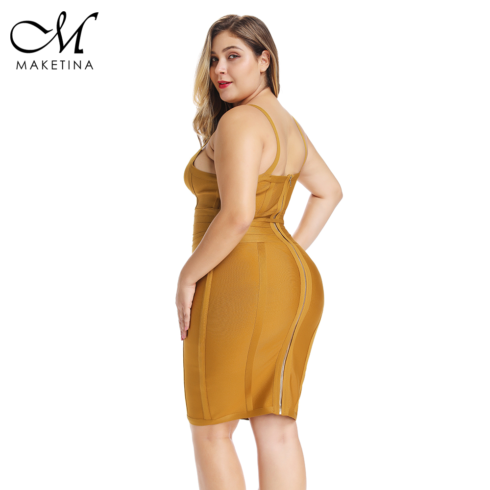 Été 2019 grande taille Bandage robe jaune grande taille moulante Bandage robe Sexy grande taille moulante robe femmes fête Clubwear XL - 4