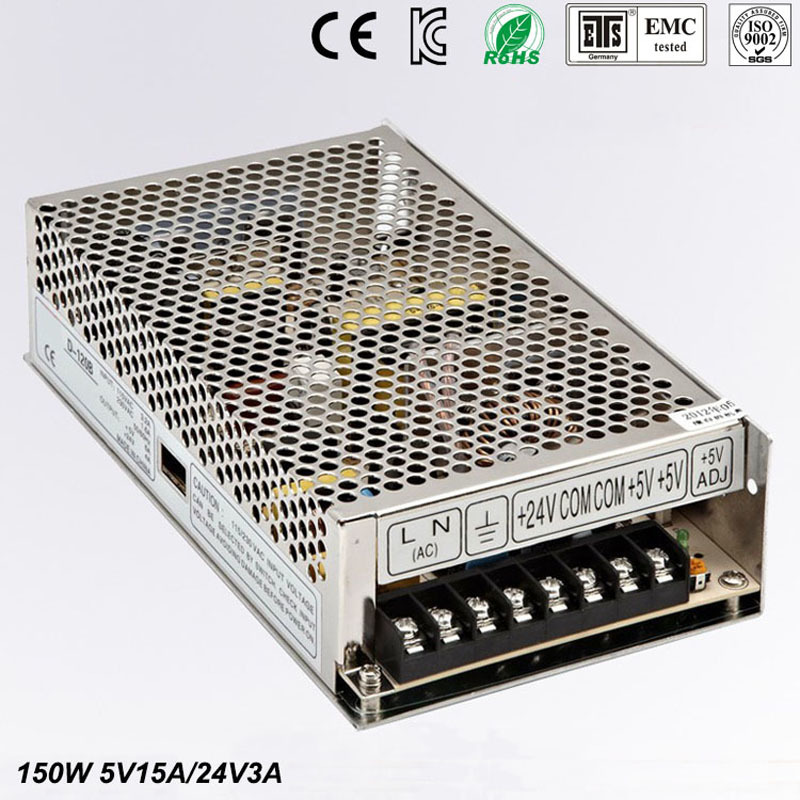 Best quality double sortie5V 24V 150W Switching Power Supply Driver for LED Strip AC 100-240V Input to DC 5V 24V free shippingBest quality double sortie5V 24V 150W Switching Power Supply Driver for LED Strip AC 100-240V Input to DC 5V 24V free shipping