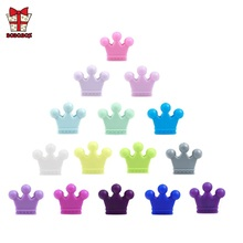 BOBO.BOX 5Pcs Crown Silicone Beads Baby Teething Colorful Nursing Teethers Food Grade Teether DIY Pacifier Chain