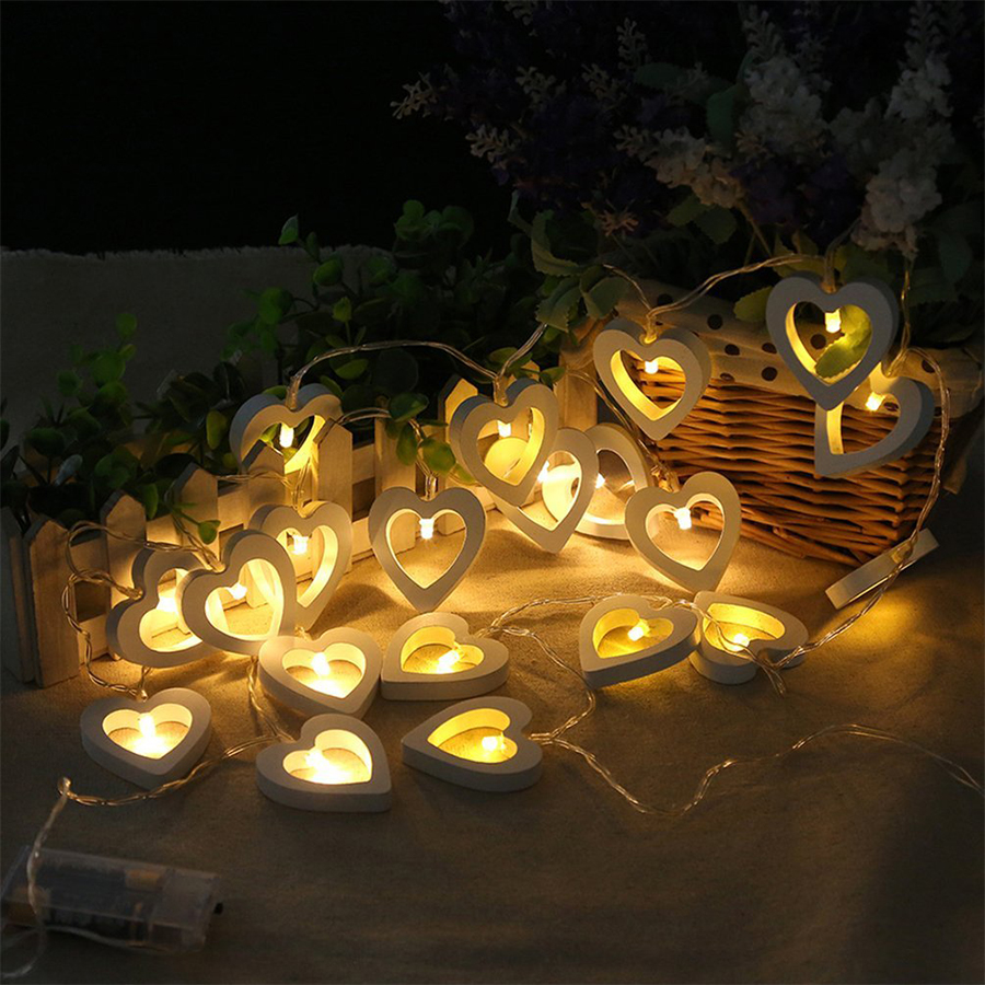 Romantic Wood Heart 2M 20 LED String Light Battery Operated Valentine's Day Lamp Christmas Party Wedding Decoration Fairy Lights