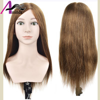 18Inch Gold Hair Cosmetology Mannequin Manikin Training Head Model Hairdressing Styling Practice Training Doll Heads With