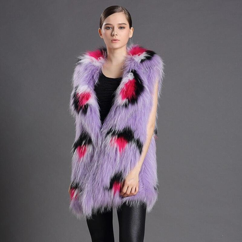 ②Réel De Fourrure de Gilet Personnalisable Pour Femmes Violet ... f67e462ae35d