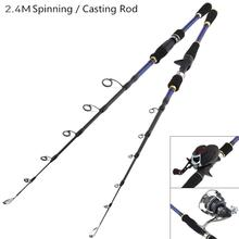 2.4m Carbon Fiber Lure Fishing Rod MH Power Hand  Spinning Casting 6 Section Telescopic Ultra Light Travel Pole hot