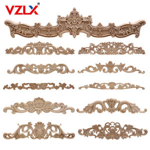 Carving-Decal Crafts Furniture Applique Carved-Corner Wood Wall Home-Decor VZLX Vintage