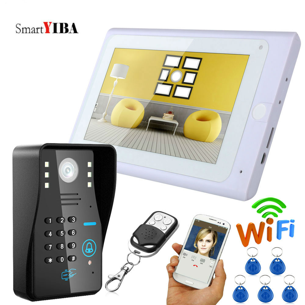 где купить SmartYIBA 7inch Password RFID Remotes Control Video Record Door Access Entry System WiFi Doorphone Video Intercom Doorbell Kits дешево