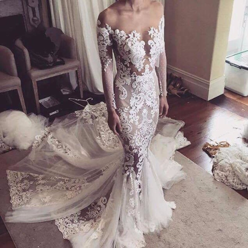 Vestido de noiva Long Sleeves Mermaid Wedding Dresses 2019 Backless Sexy Luxury Lace Wedding Bridal Gowns Robe de mariage