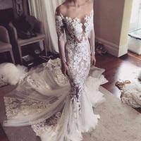 Vestido de noiva Long Sleeves Mermaid Wedding Dresses 2018 Backless Sexy Luxury Lace Wedding Bridal Gowns Robe de mariage