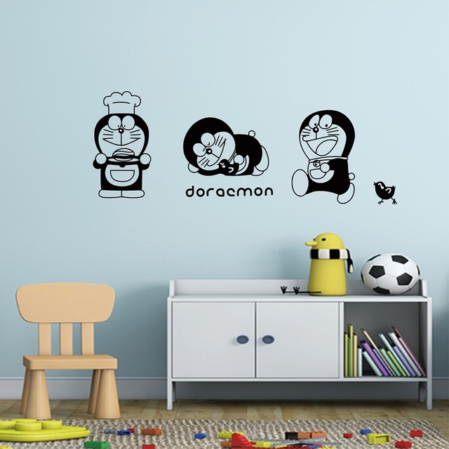 Us 132 49 Offdiyws Vinyl Sticker Japanese Kawaii Cartoon Character Doraemon Cat Removable Wall Decals Mural Wallpaper In Wall Stickers From Home