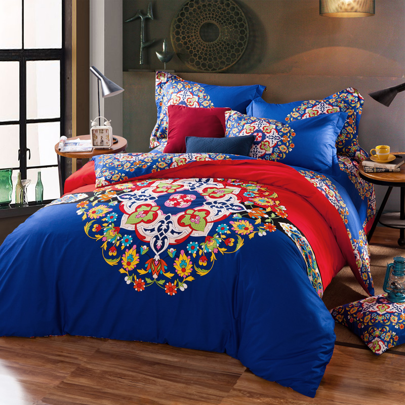 Bohemia style 100%cotton Reactive printed bedding set duvet cover flat sheet bedspread pillowcase discount gift red flowersBohemia style 100%cotton Reactive printed bedding set duvet cover flat sheet bedspread pillowcase discount gift red flowers