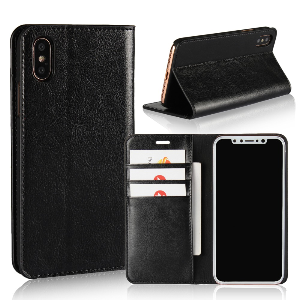 Luxury Genuine Leather Wallet Flip Case Cover For iPhone X
