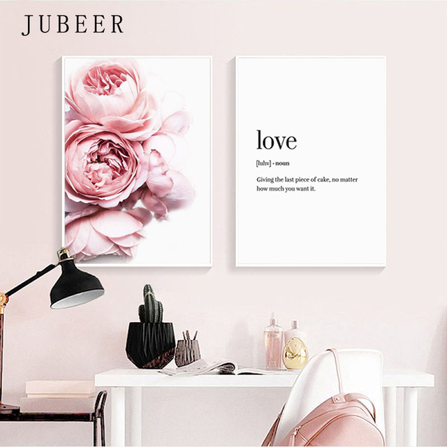 Nordic Style Peonies Poster and Prints Peony Wall Art Pink Flower Love Sentence Canvas Painting Gift for Her For Bedroom Picture