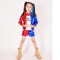 Kids Girls Suicide Squad Harley Quinn Coat Shorts Jackets Top Set For Girls Children Halloween Harley