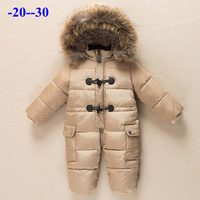 Russian winter new born baby clothes 90% duck down jacket for girls coats winter Park for infant boy snowsuit snow wear romper