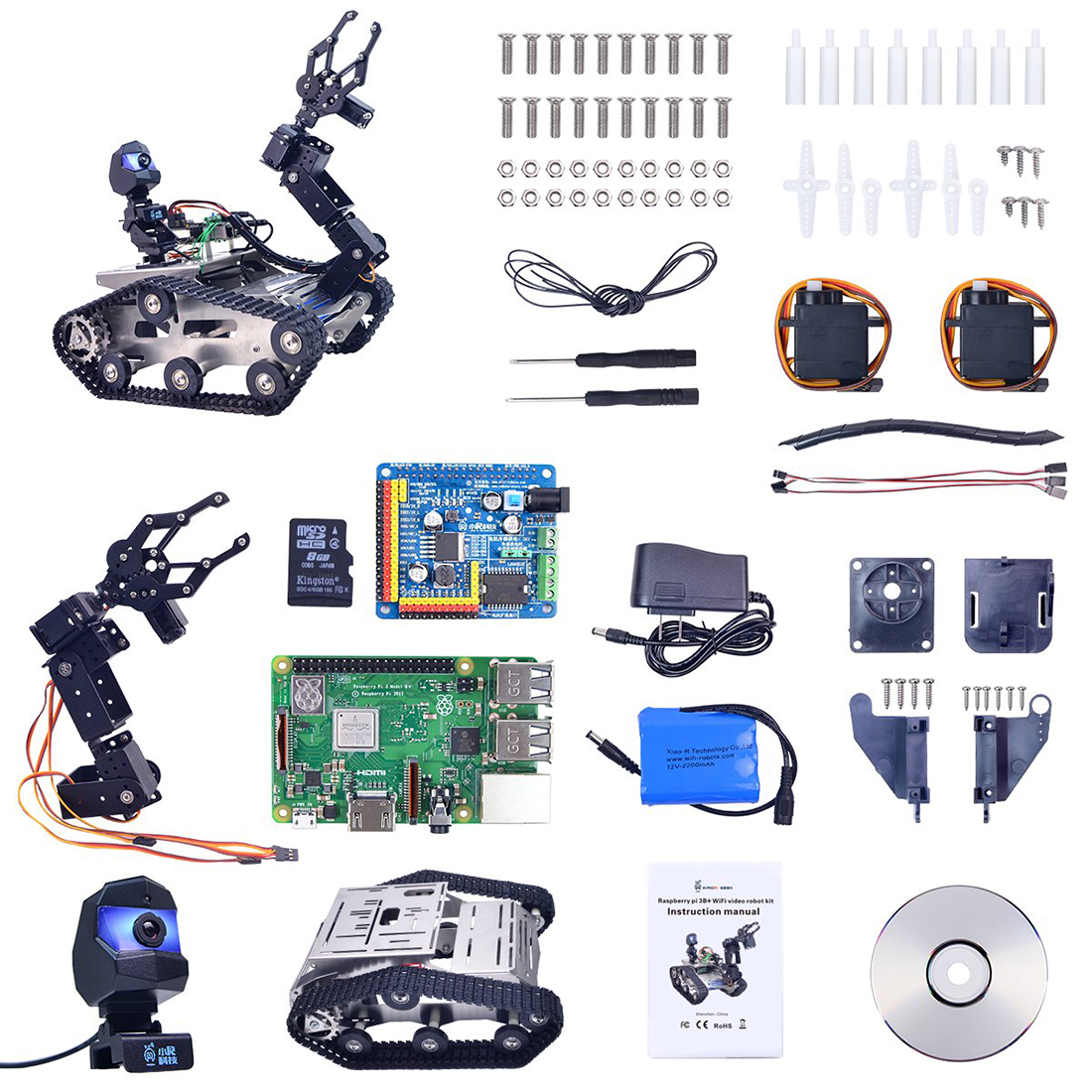 Programmable TH WiFi FPV Tank Robot Car Kit With Arm For Kids Adult For Raspberry Pi 3B+ - Standard Version Small Claw