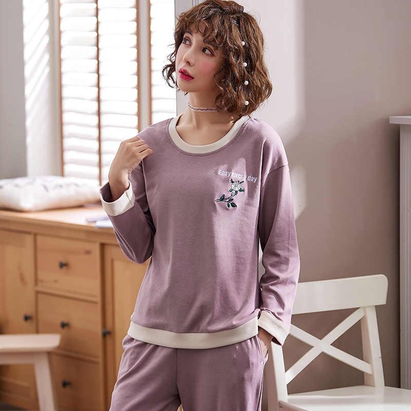 bb7ef1fac5 100% cotton solid color pajama sets women long sleeve casual sleepwear  women soft knit pyjama