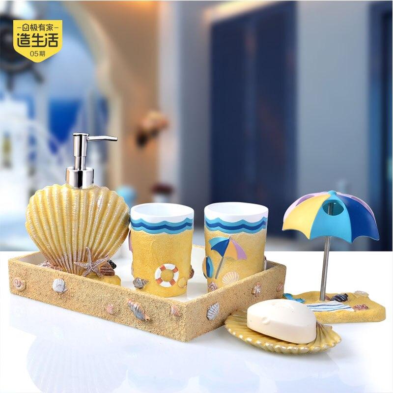 2016 Limited Hot Sale European Mediterranean Wind Resin Bathroom Suite Five Sets Washing Wedding Housewarming Gift Products