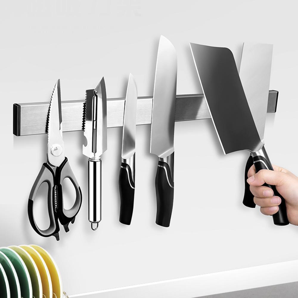 Magnetic Knife Holder Wall Mount Self-adhesive Holder Magnet Stainless Steel Knives Holder For Kitchen Utensil Organizer Tools