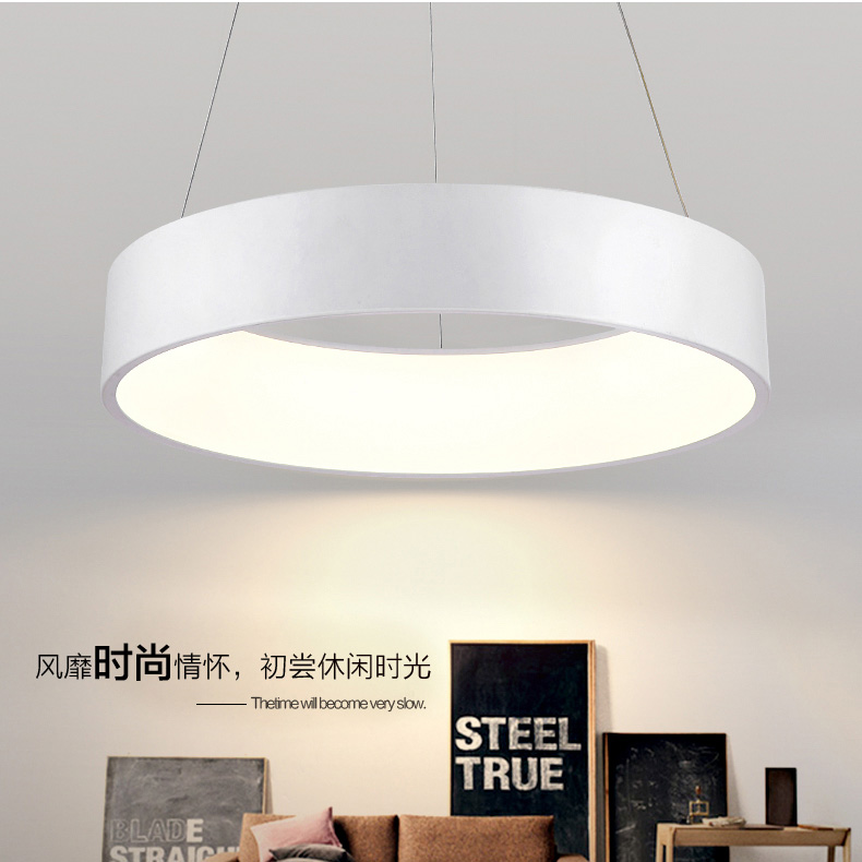 Round Shaped Dining Room Led Ceiling Pendent Lighting Simple Fashion Modern Parlor Lamp For Bedroom