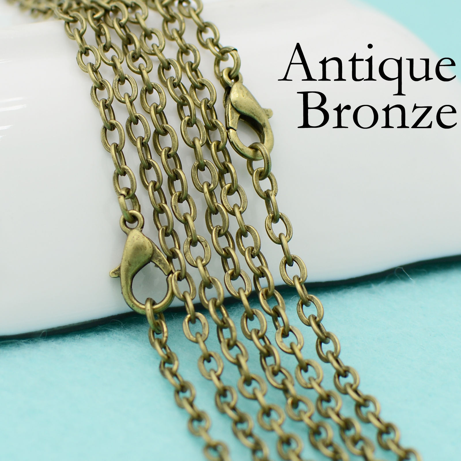 20 Inch Antiqued Gold Brass Cable Chain Necklace With Lobster Clasp
