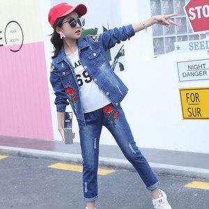 Image 2 - Abesay outono meninas conjunto rosa lantejoulas jaqueta + jeans roupas de moda para meninas adolescentes roupas de inverno para crianças 4 6 8 12 13 anos