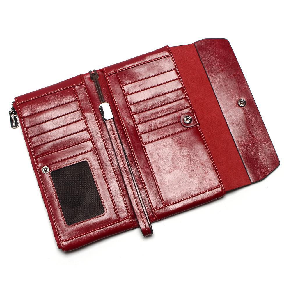 Image 2 - Women Phone Bag New Soft Oil Wax Genuine Leather Wallet Long  Designer Male Clutch Luxury Brand Wallets Zipper Coin Purse    -