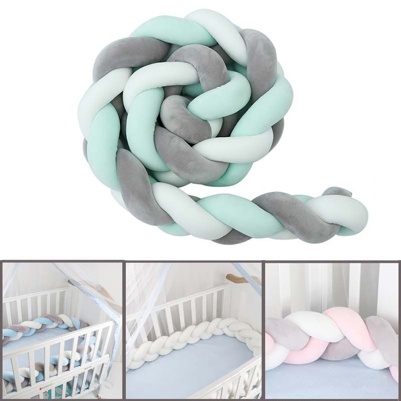 1Pcs 1M/2M/3M Newborn Baby Bed Bumper Crib Bumper Knot Newborn Baby Handmade Nodic Knot Newborn Bed Bumper Infant Room Decor