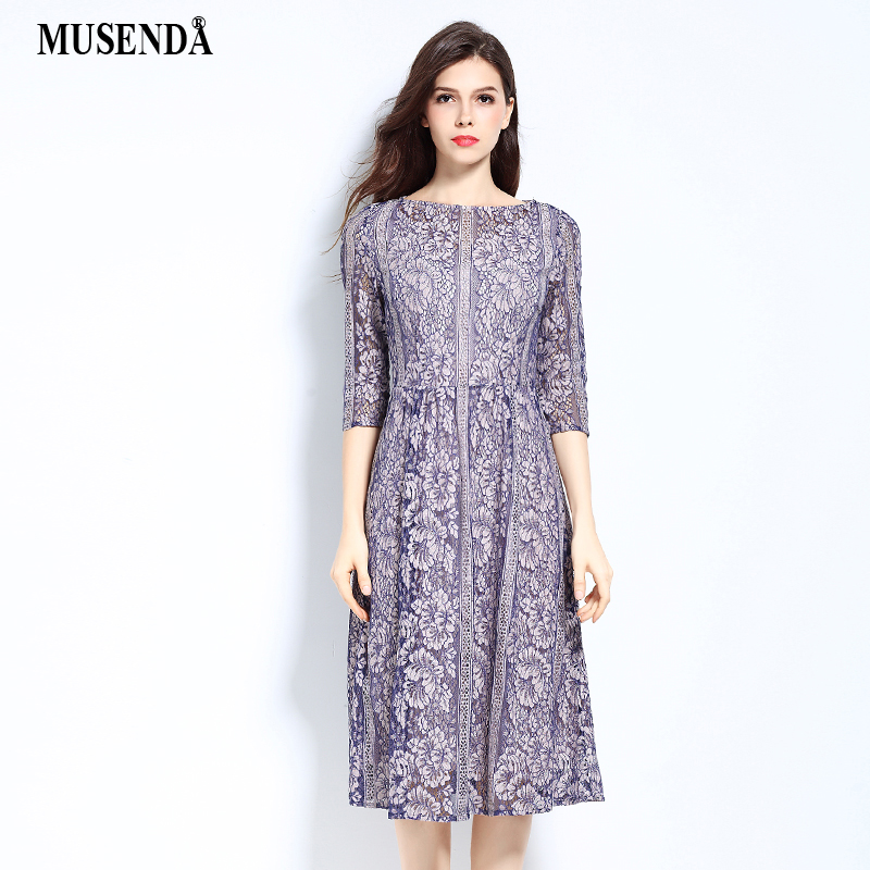 MUSENDA плюс размеры для женщин элегантный выдалбливают кружево туника платье 2017 летний сарафан леди Винтаж пикантные вечерние офисные уличн