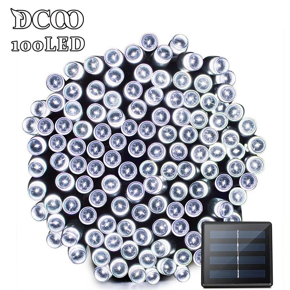 Dcoo Solar LED String Lights 100 Light 8 Modes Garden Outdoor Lighting Led Solar Light Outdoor Holiday Christmas Pisca Pisca