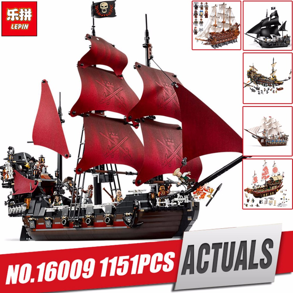 Lepin pirates of the caribbean 16006 16009 Black Pearl ship 16016 22001 06057 LegoINGlys 4195 70618 model building kits blocks lepin compatible 16009 1151pcs pirates of the caribbean queen anne s reveage model building kit blocks brick toys for kids 4195