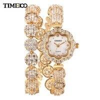Известный бренд TIME100 длинный медный ремешок Подсолнух горный хрусталь водонепроницаемый Алмаз кварцевые женские часы браслет # W50344L. 04A