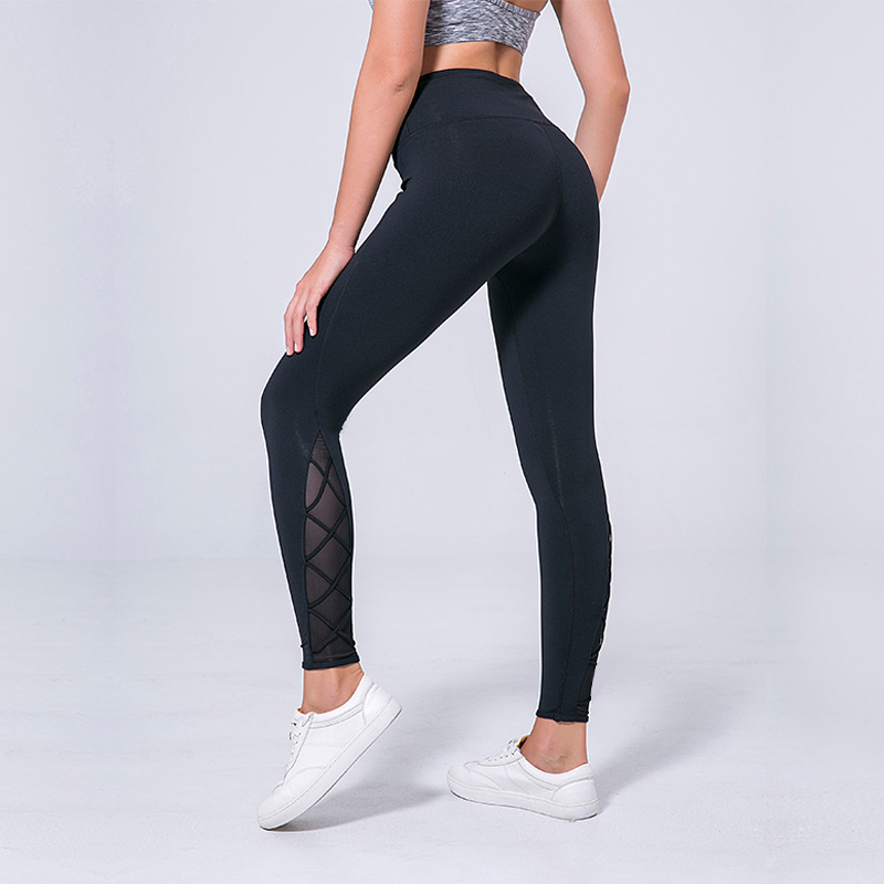 Eshtanga tight NWT Women Super quality Hollow Out Yoga pant Net yarn pant Sports leggings THICK Stretch Material Size XS-XL u convex pouch leopard hollow out tight bodysuit