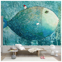 child room wallpapers fish fairy ocean blue color wall background poster mural wallpaper for living room bedroom discount