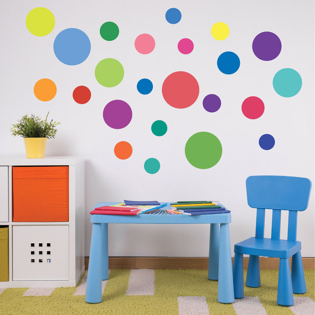 23pcs multi sized rainbow polka dot colors wall stickers for nursery